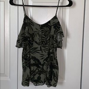 Old Navy olive leaf cold shoulder tank. XS